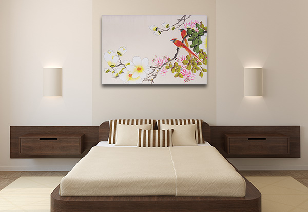 Flowers and Two Birds Canvas Art