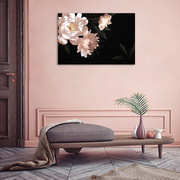 Flowers in Dark Background Art Print Canvas Art