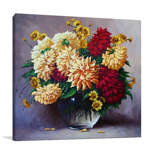 Flowers In Oil Paintings Wall Art