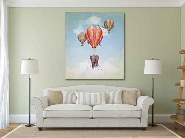 Flying Elephant Wall Art Print on the Wall