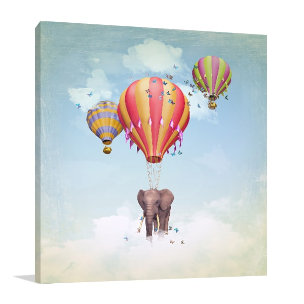 Flying Elephant Wall Canvas