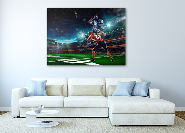 Football Canvas Artwork on the Wall