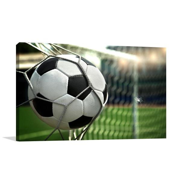 Football on Net Wall Canvas