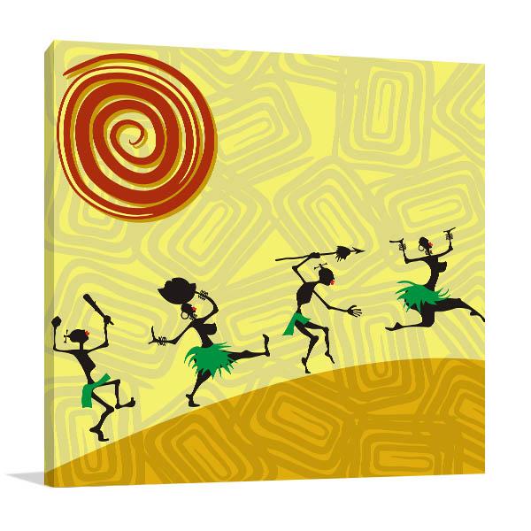 Four African Dancer Prints Canvas