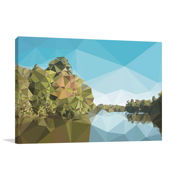 Fractal Lakeside Wall Print