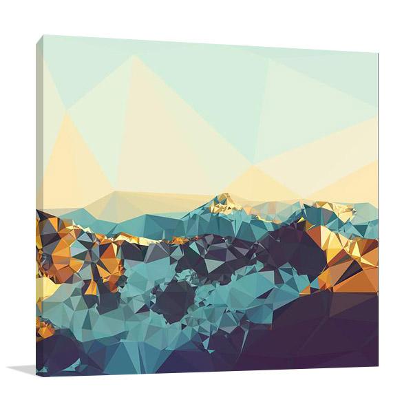 Fractal Mountain Sunset Print   The Studio