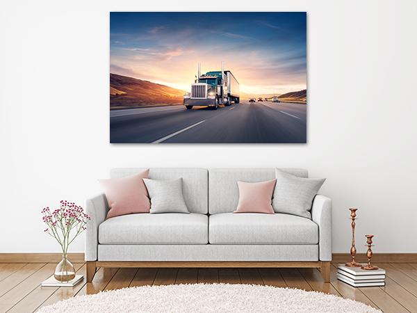 Freeway Truck Canvas Art Print on the wall