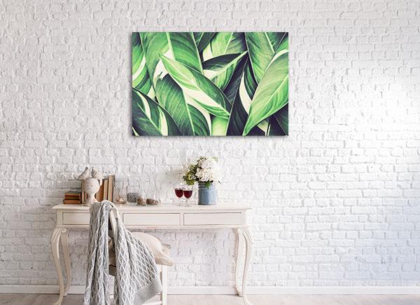 Fresh Tropical Green Leaves Wall Art