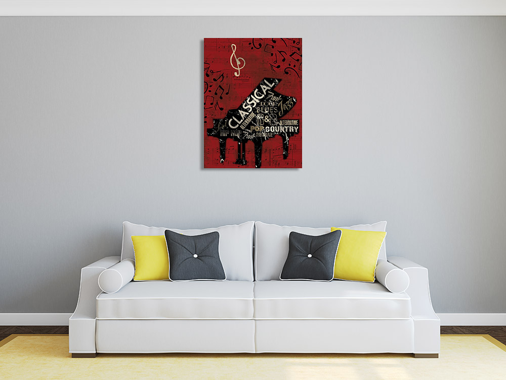 Red Musical Print on Canvas