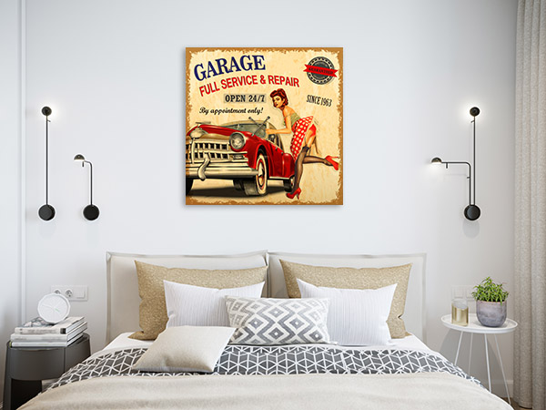 Garage Retro Poster Canvas Prints