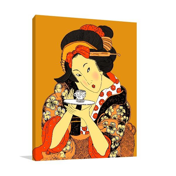 Geisha Close Up Canvas Art