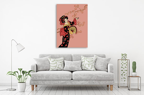Geisha in Pink Print Artwork