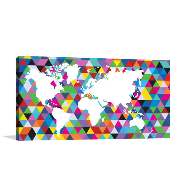 Geometric Colourful Map Canvas Art