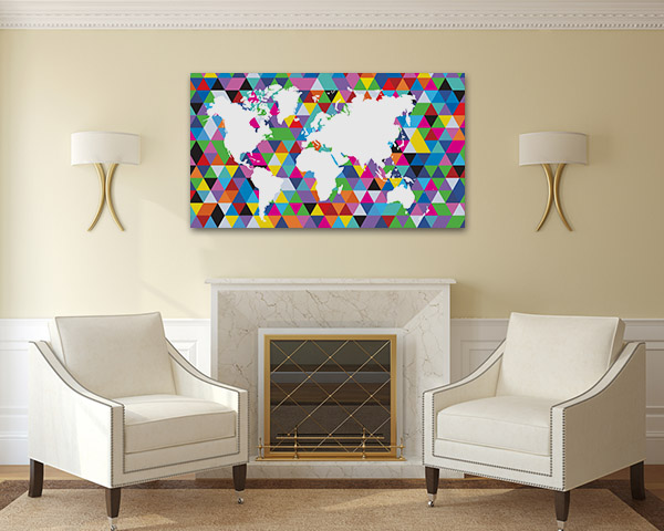 Geometric Colourful Map Canvas Prints
