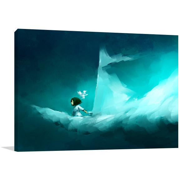 Girl On Cloud Canvas Prints