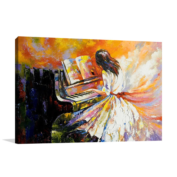 Girl Playing on the Piano Print
