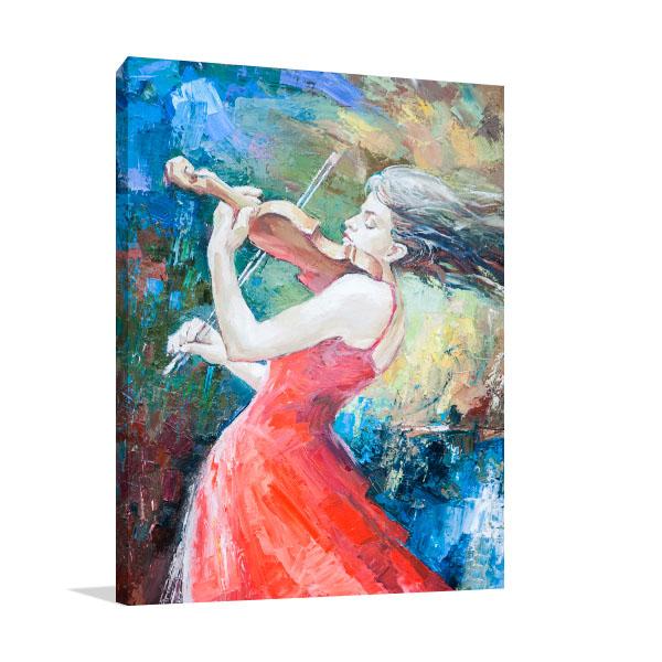 Girl Playing Violin Canvas Art Prints
