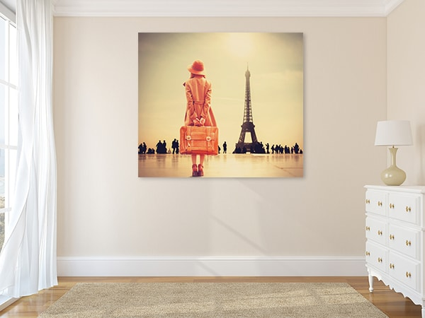 Girl with Suitcase Canvas Prints