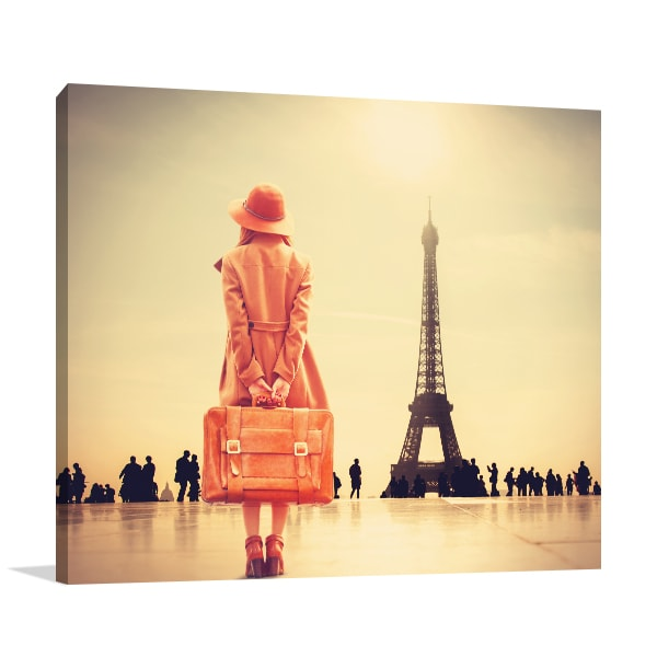 Girl with Suitcase Print Artwork