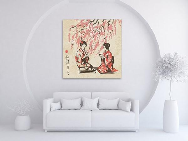 Girls Having Tea Art Artwork on the Wall