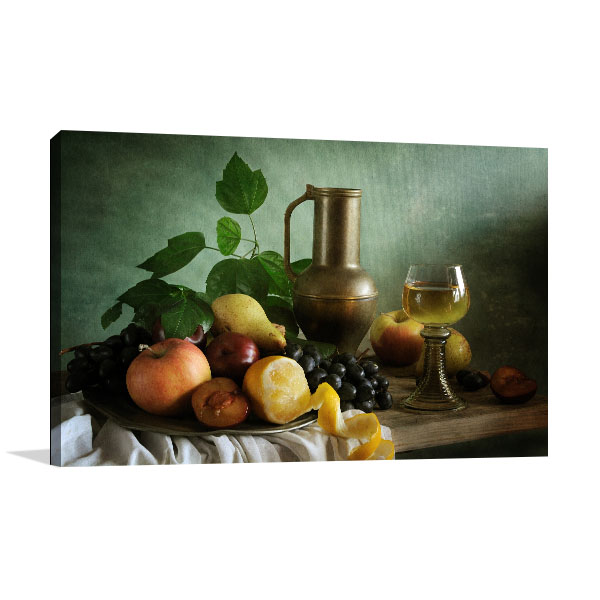 Glass Wine And Fruit Wall Art