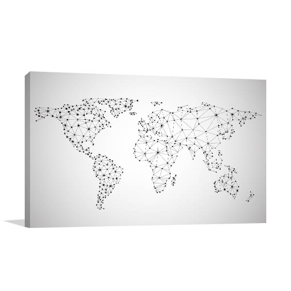 Global Network Map Canvas Art Prints