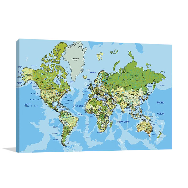 Global World Map Canvas Print