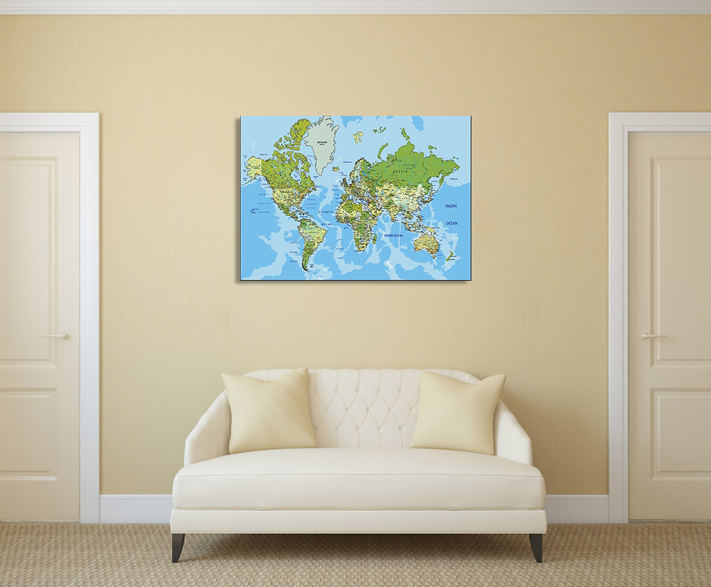 Blue Map Canvas Art Print