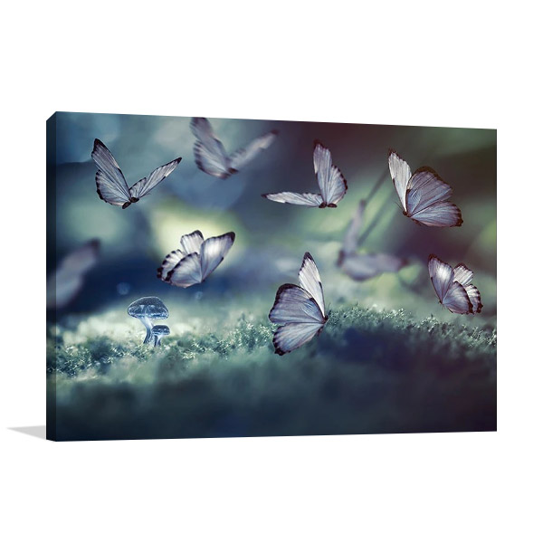 Glowing Butterflies Print on Canvas