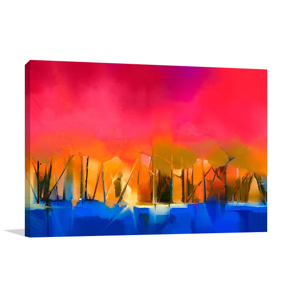Gold Tree And Red Sky Wall Print
