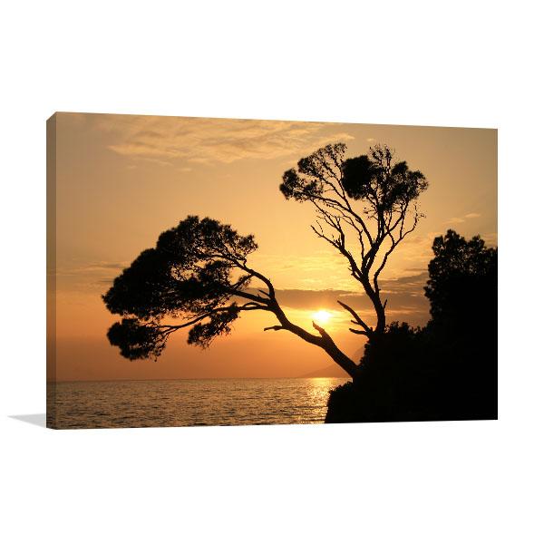 Golden Sunset In Brela Prints Canvas