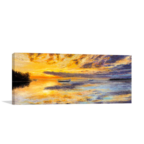 Golden Sunset Over Ocean Canvas Prints