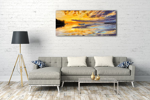 Golden Sunset Over Ocean Prints Canvas