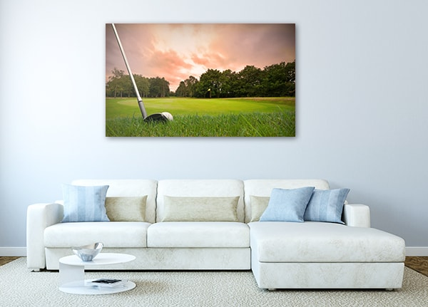 Golf Club Print Artwork on the Wall