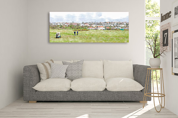 Golfers at Clubhouse Prints Canvas