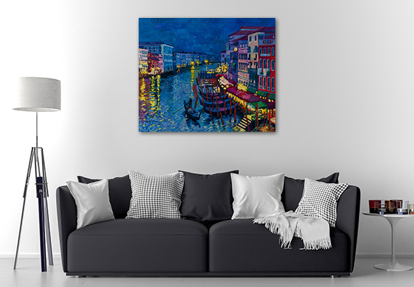 Gondolas At Night Art Prints