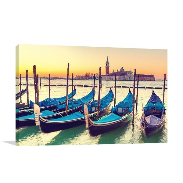 Gondolas in Venice Wall Canvas