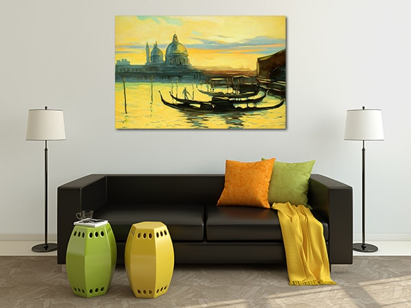 Gondolas Watercolour Print Artwork on the Wall