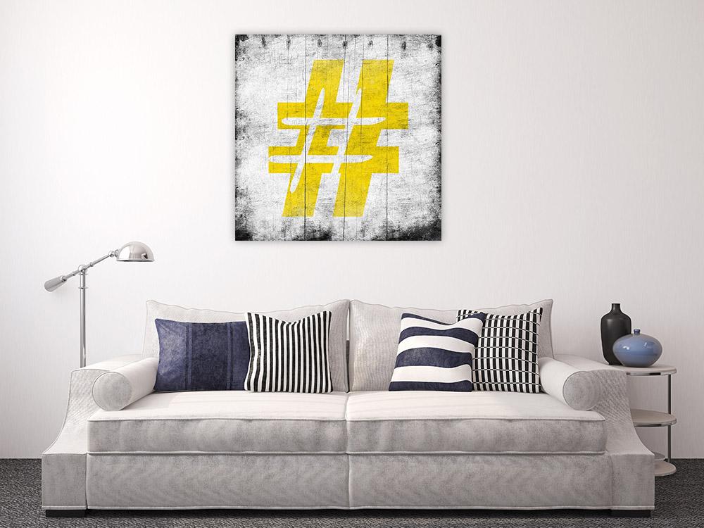 Yellow Graffiti Wall Canvas Print
