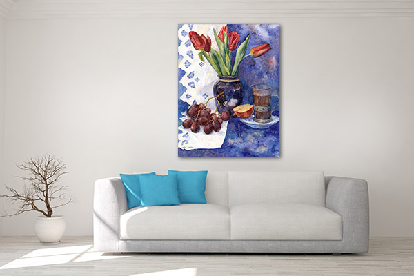 Grapes In Watercolour Canvas Art Prints