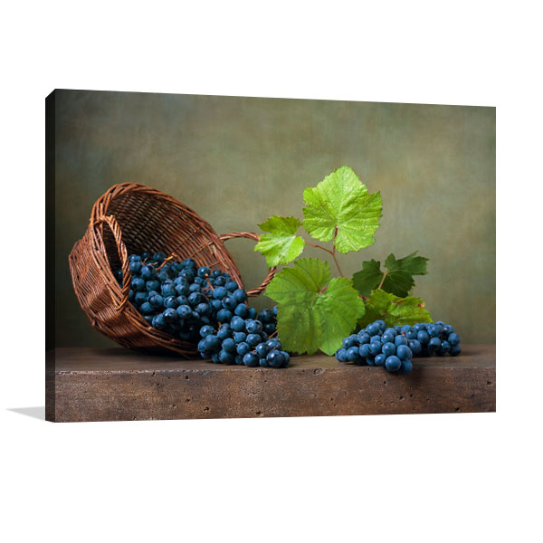 Grapes on Basket Art Prints
