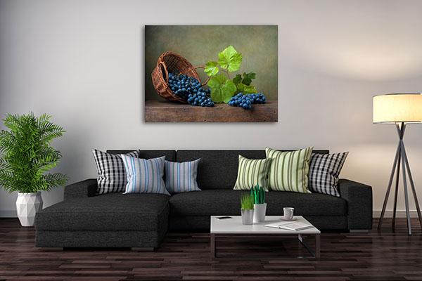 Grapes on Basket Canvas Prints