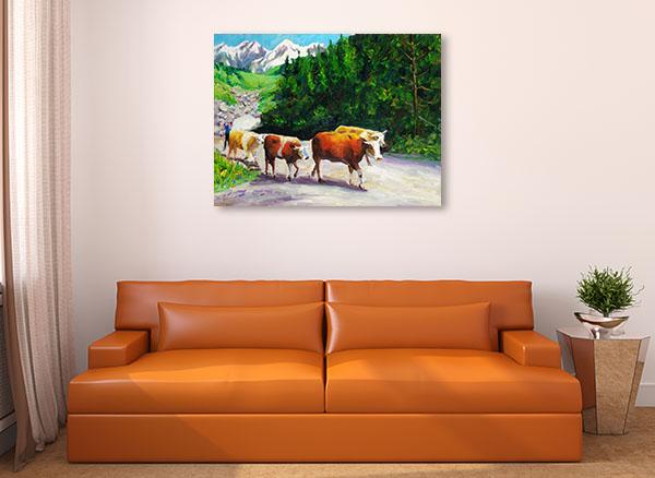 Grazing Bull Canvas Prints
