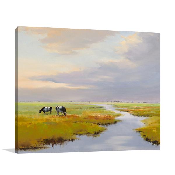 Grazing Cattle Wall Art Print