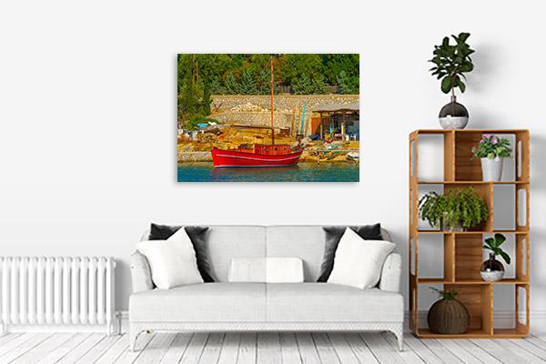 Greek Fishing Boat Prints Canvas