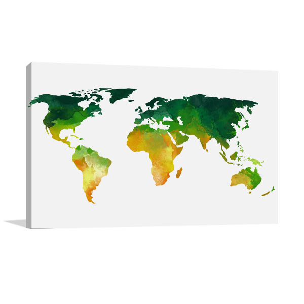 Green And Yellow World Map Wall Art
