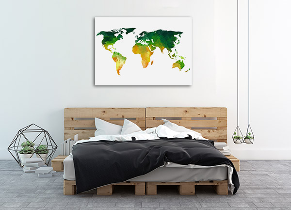 Green And Yellow World Map Prints Canvas