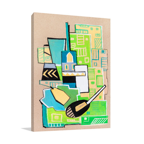 Green Cubism Manner Canvas Art