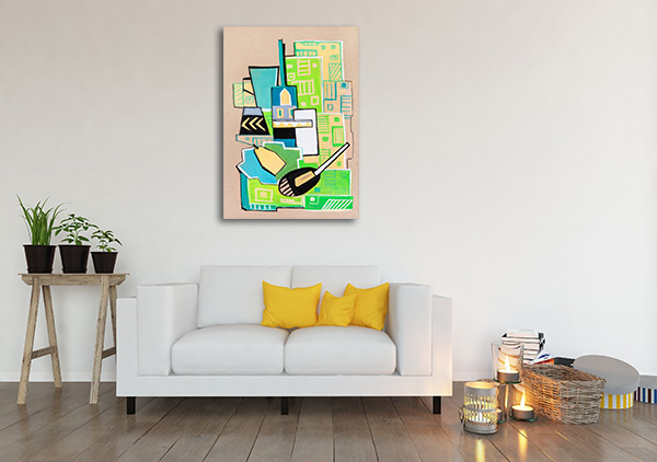 Green Cubism Manner Prints Canvas