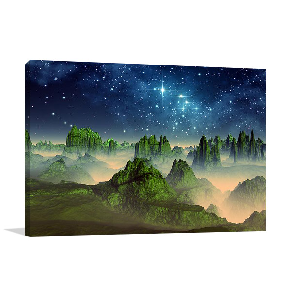 Green Fantasy Mountain Canvas Print